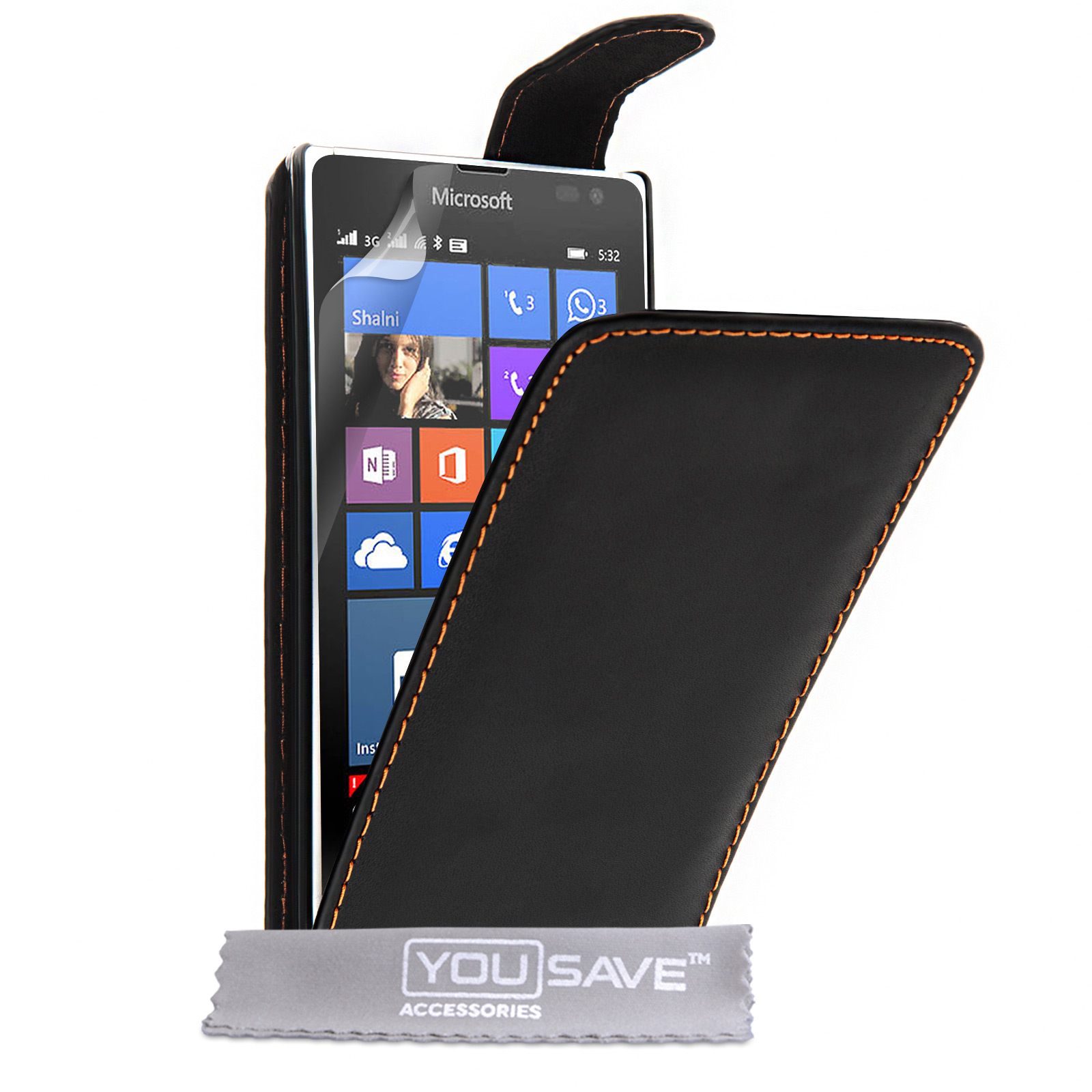 YouSave Microsoft Lumia 532 Leather-Effect Flip Case - Black