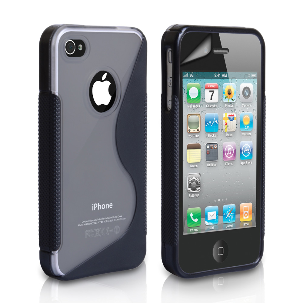 YouSave Accessories iPhone 4 / 4S S-Line Gel Case - Black-Clear