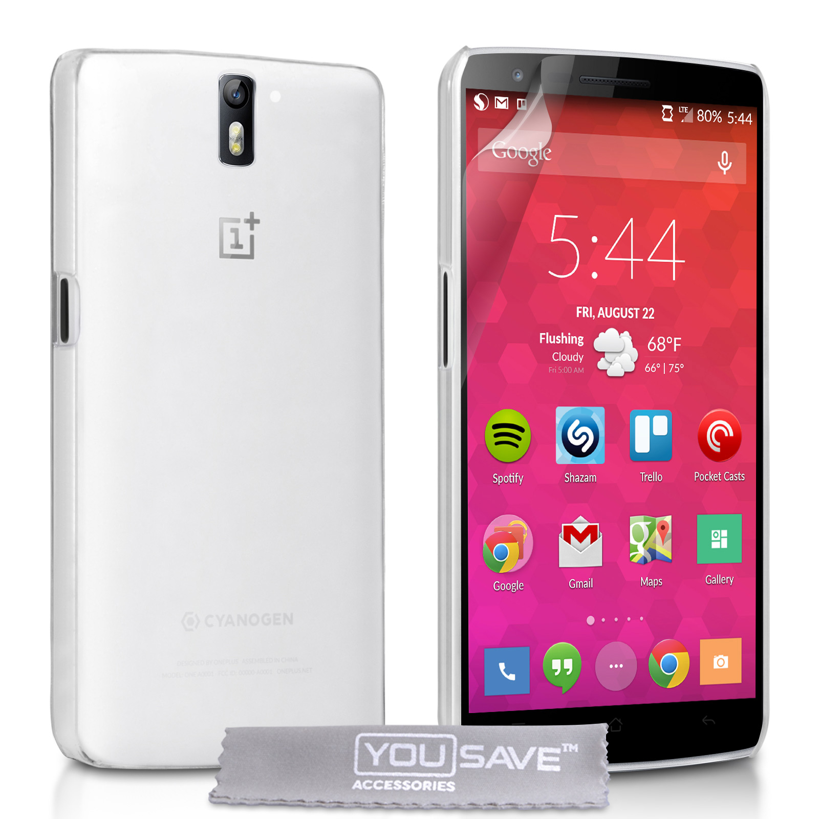 YouSave Accessories OnePlus Two Hard Case - Crystal Clear