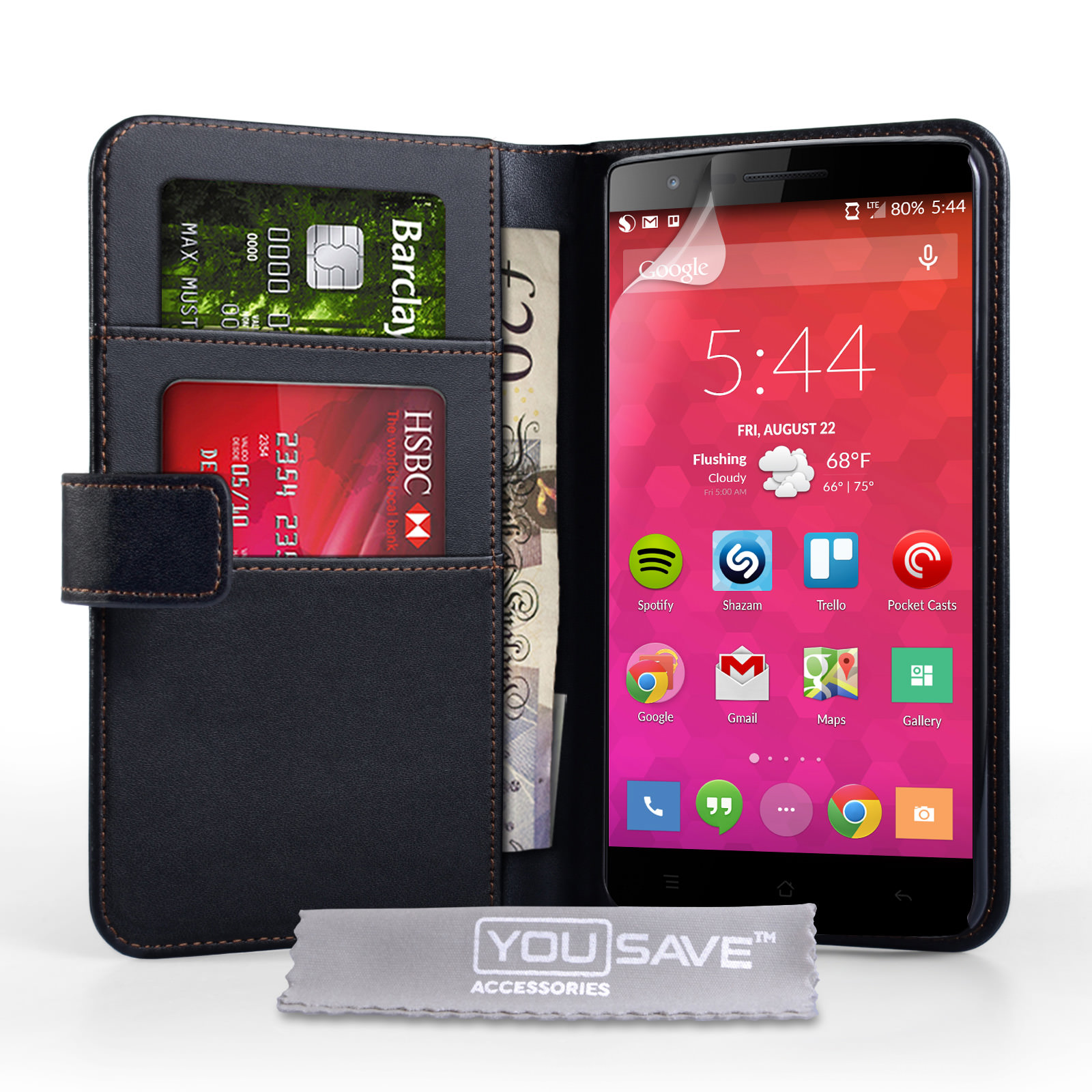 YouSave Accessories OnePlus Two Leather-Effect Wallet Case - Black