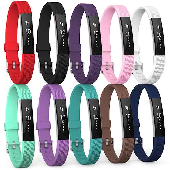Fitbit Alta Strap 10-pack (Small) - Red / Black / Plum /  Blush Pink / White / Mint Green / Violet / Cyan Blue / Brown / Dark Blue