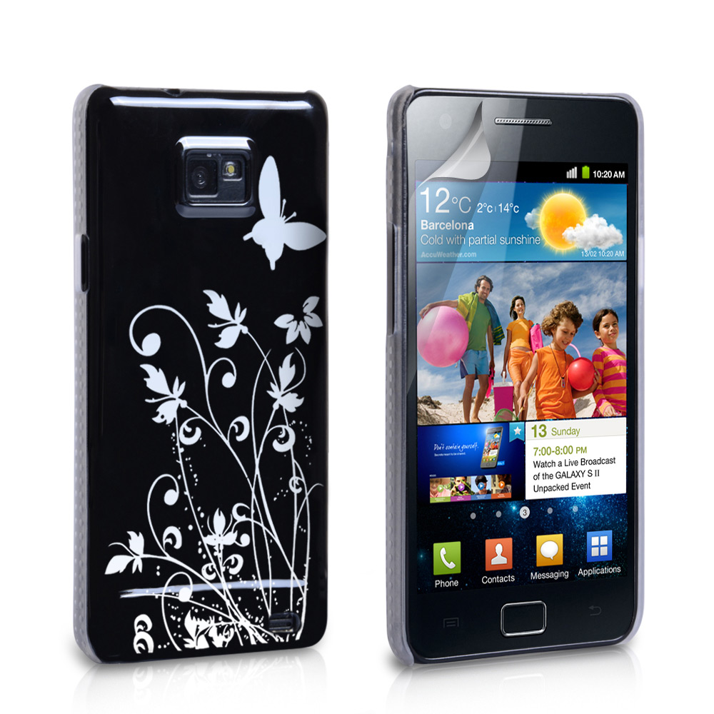 YouSave Samsung Galaxy S2 i9100 Black Butterfly IMD Hard Case