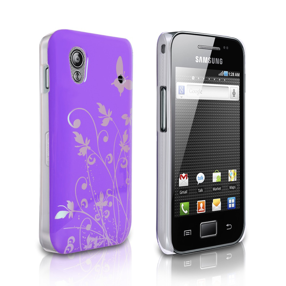 YouSave Samsung Galaxy Ace Butterfly IMD Hard Case - Purple-Silver