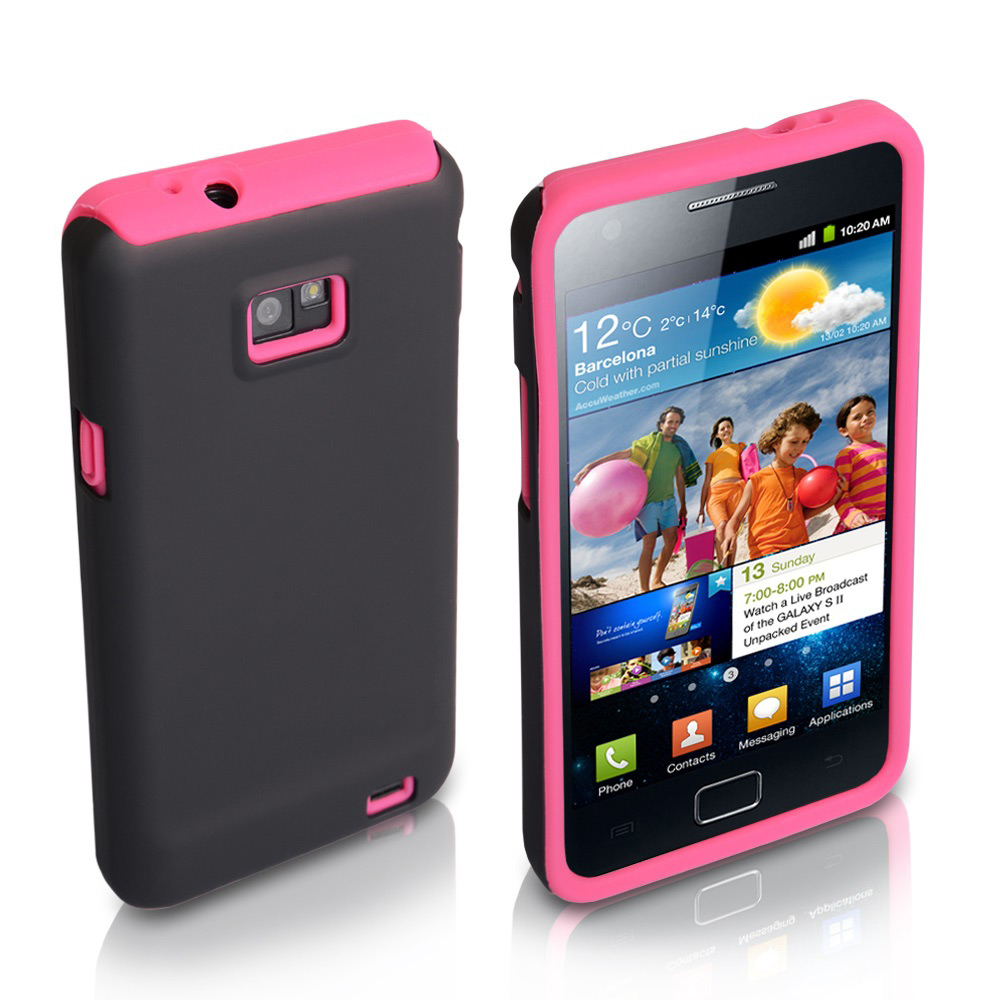 YouSave Accessories Samsung Galaxy S2 i9100 Pink Hard Soft Combo Case