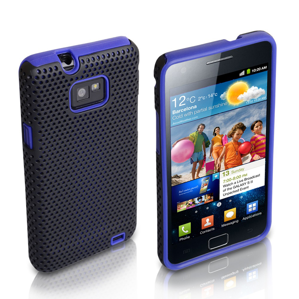 YouSave Samsung Galaxy S2 i9100 Blue Mesh Hard Soft Combo Case