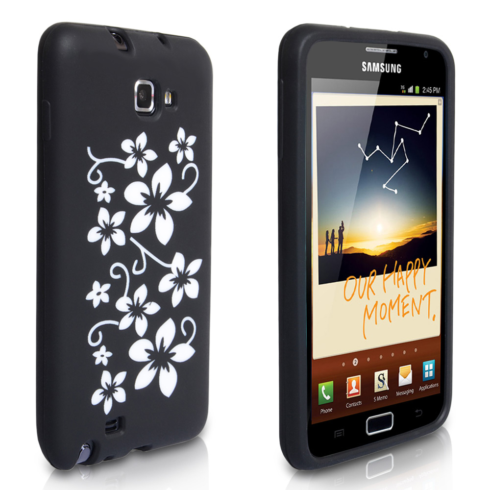 YouSave Accessories Samsung Galaxy Note Black Floral Gel Case