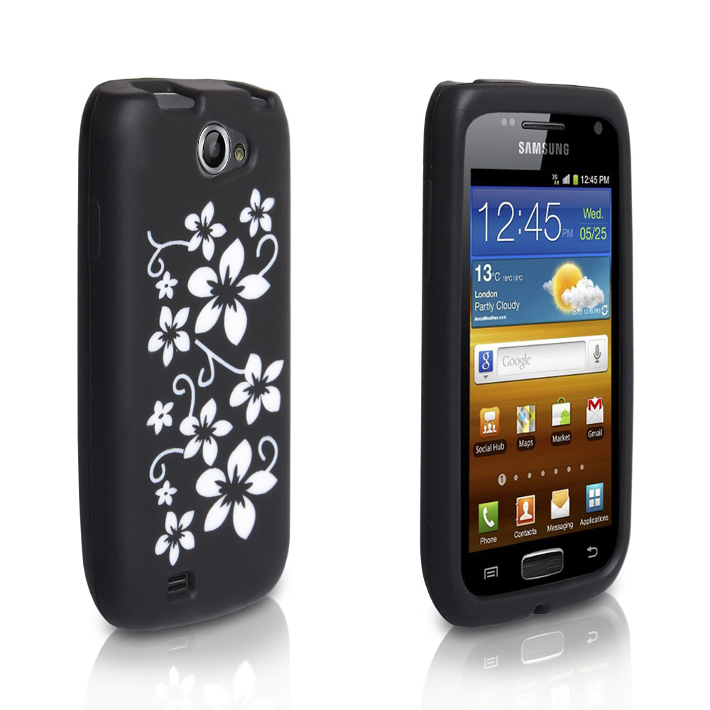 YouSave Samsung Galaxy W i8150 Black And White Floral Gel Case