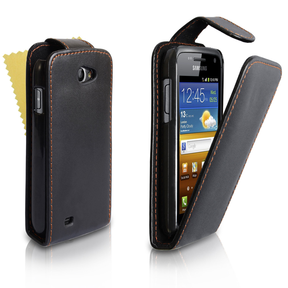YouSave Samsung Galaxy W i8150 Black Leather Effect Flip Case