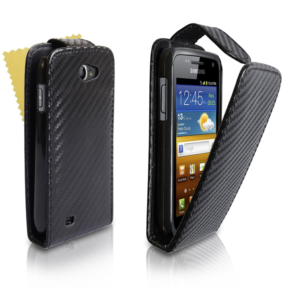YouSave Samsung Galaxy W i8150 Carbon Fibre Leather Effect Flip Case