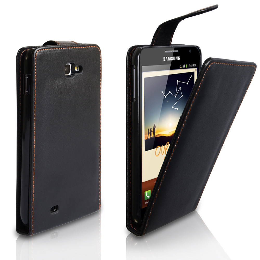 YouSave Accessories Samsung Galaxy Note Black Leather Effect Flip Case
