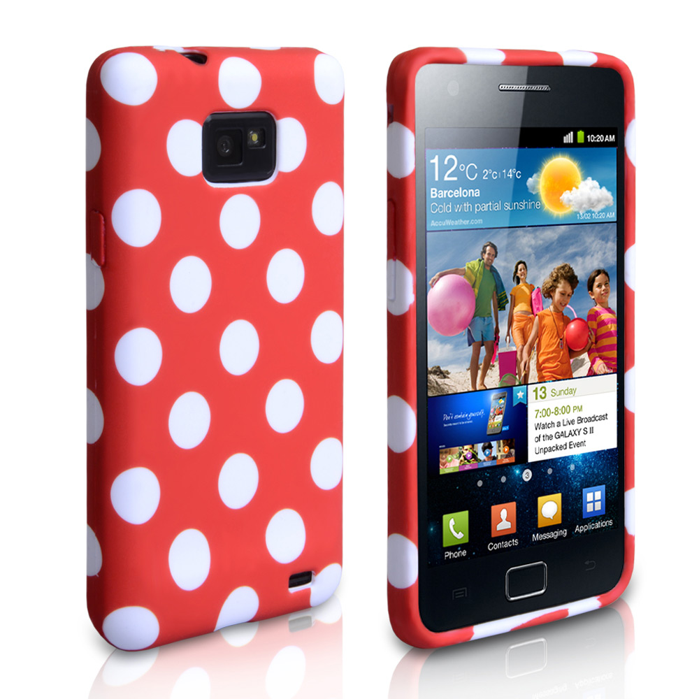 YouSave Accessories Samsung Galaxy S2 Polka Dot Gel Case - Red