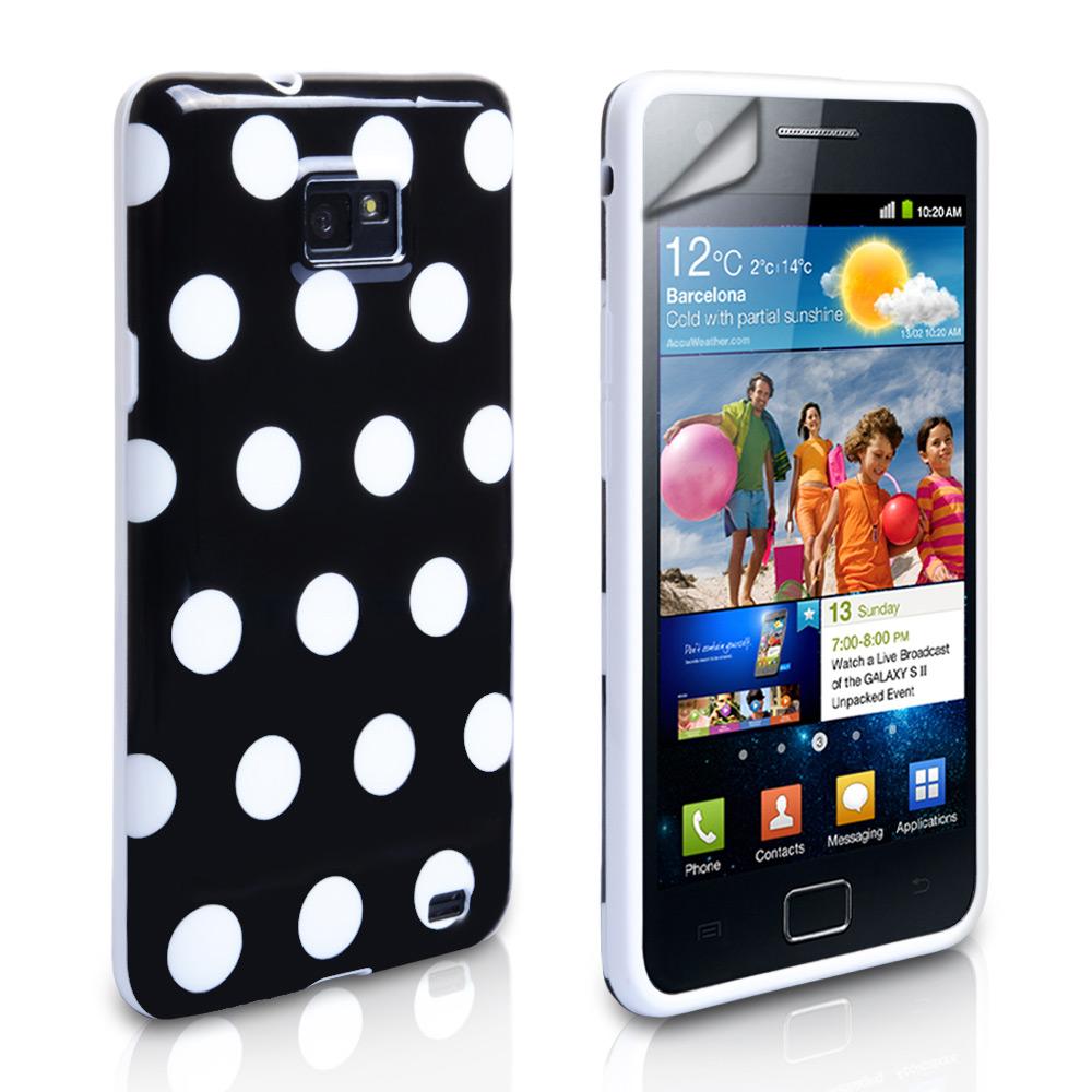 YouSave Accessories Samsung Galaxy S2 Black Polka Dot Gel Case