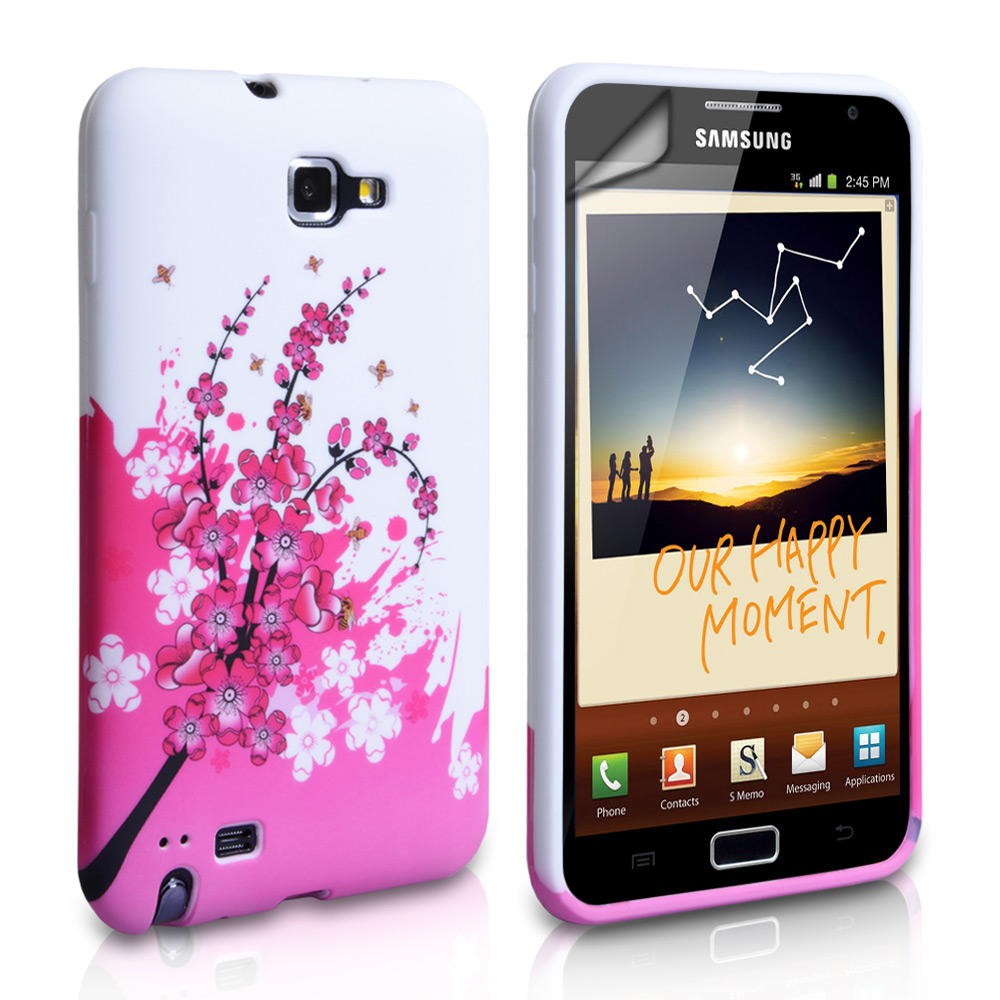 YouSave Accessories Samsung Galaxy Note Floral Bee Silicone Gel Case