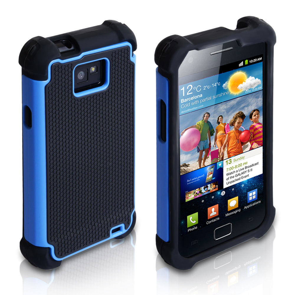 YouSave Samsung Galaxy S2 Dual Combo Grip Case - Black-Blue