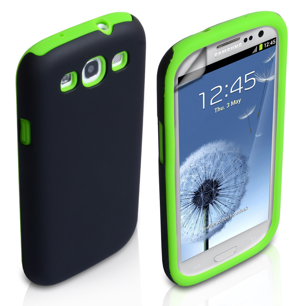 YouSave Accessories Samsung Galaxy S3 Dual Combo Case - Black/Green