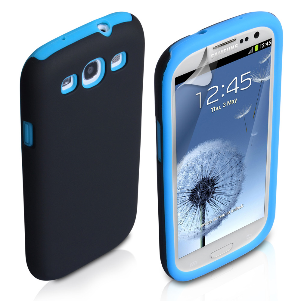 YouSave Accessories Samsung Galaxy S3 Dual Combo Case - Black/Blue