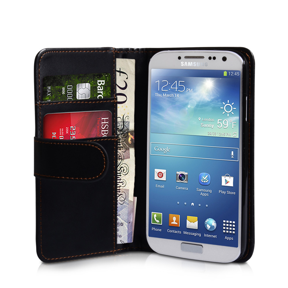 YouSave Samsung Galaxy S4 Leather Effect Wallet Case - Black