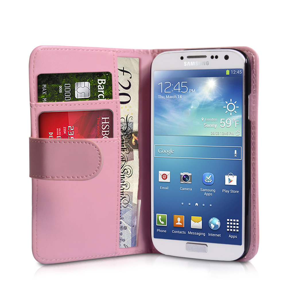 YouSave Samsung Galaxy S4 Leather Effect Wallet Case - Baby Pink