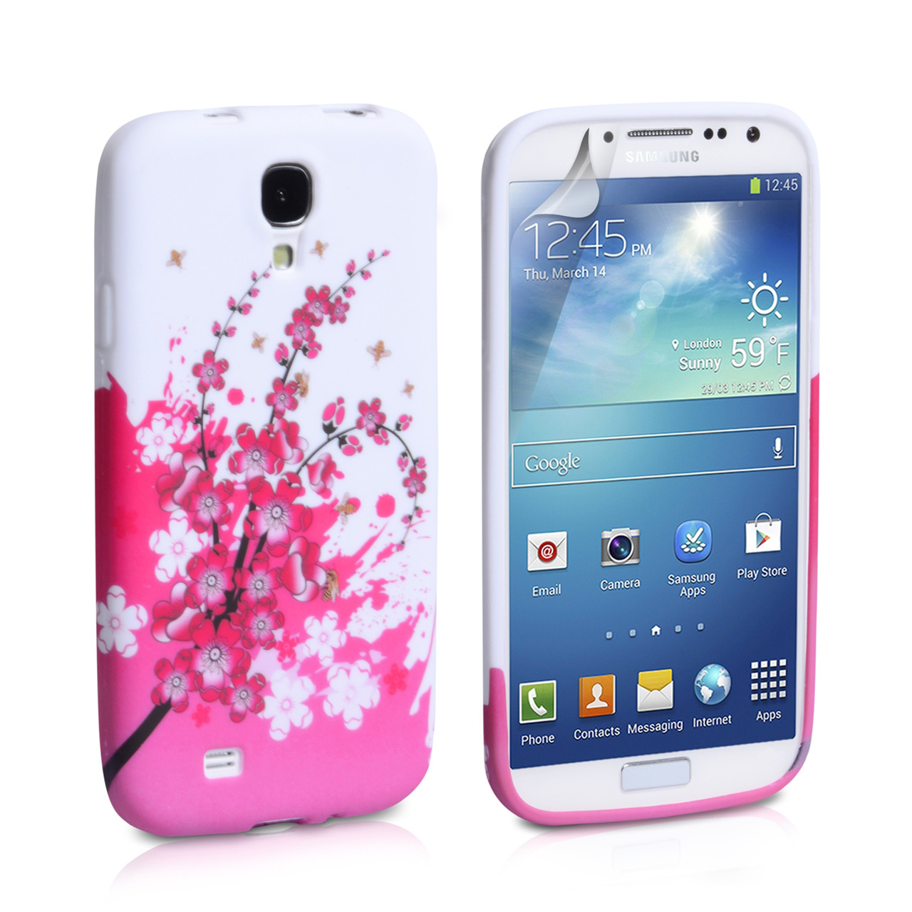YouSave Accessories Samsung Galaxy S4 Floral Bee Silicone Gel Case