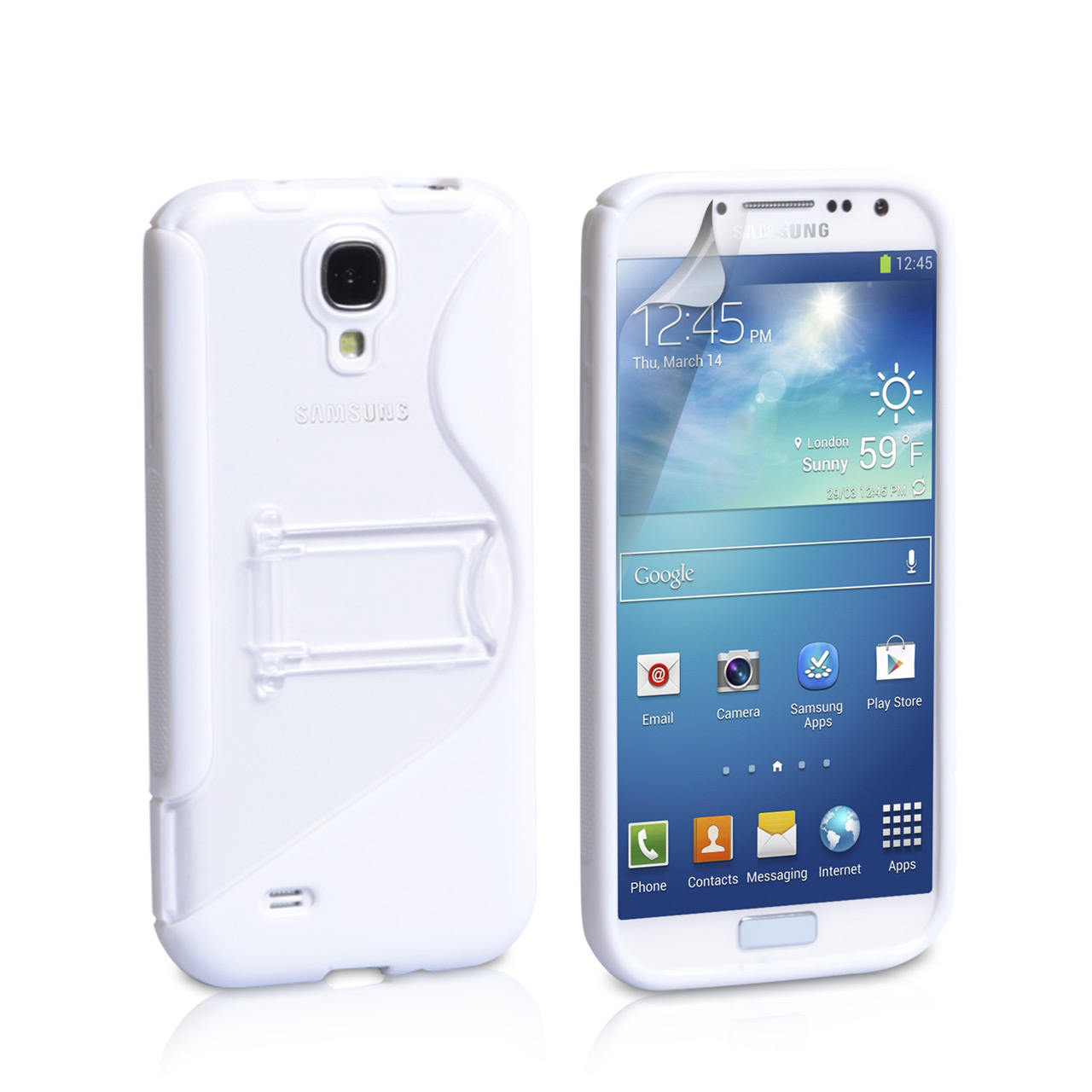 YouSave Accessories Samsung Galaxy S4 White Silicone Gel Stand Case