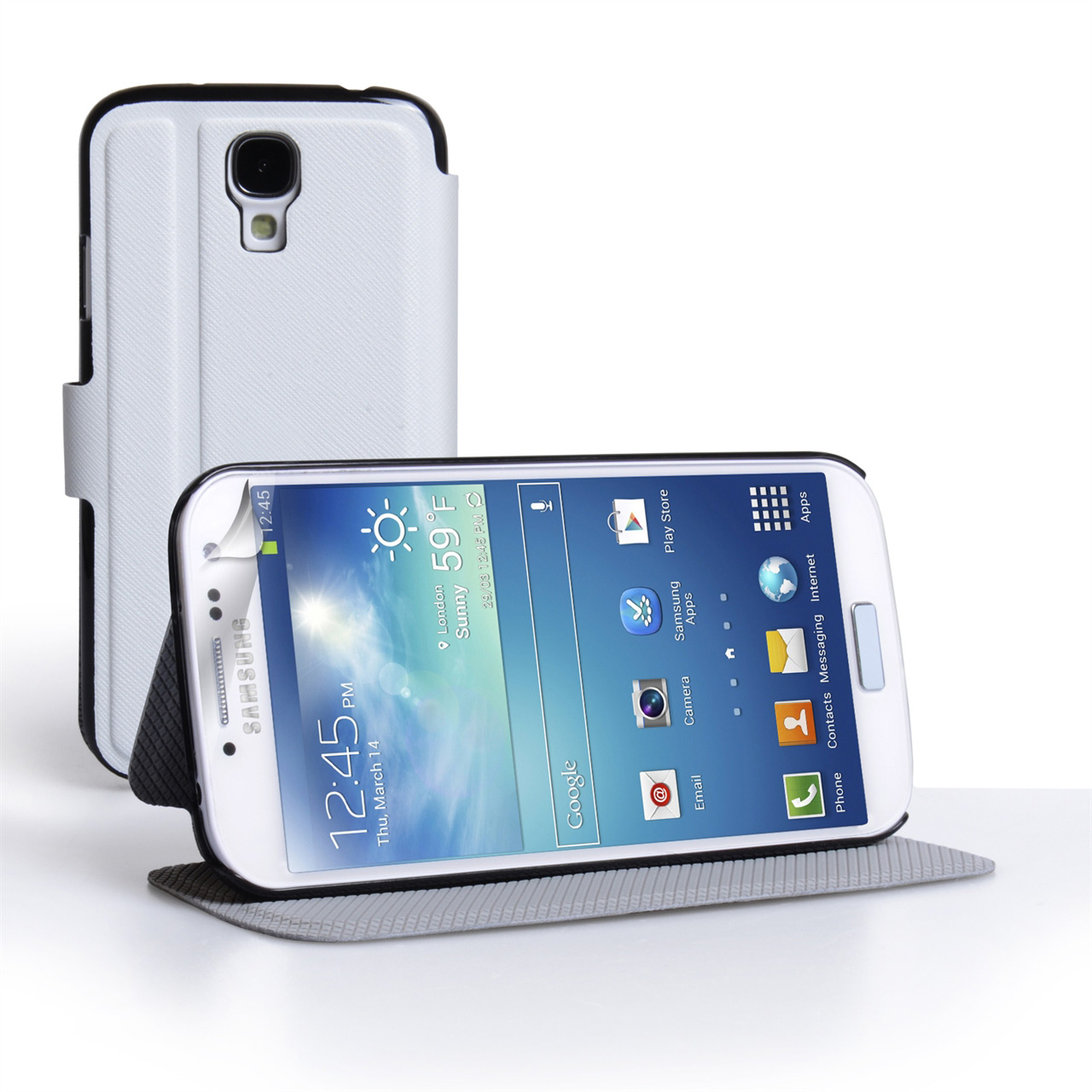 YouSave Samsung Galaxy S4 Leather Effect Flip Stand Case - White
