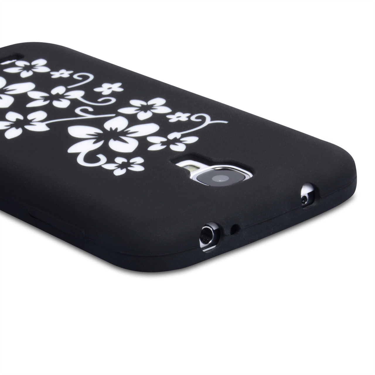 YouSave Accessories Samsung Galaxy S4 Floral Silicone Gel Case - Black
