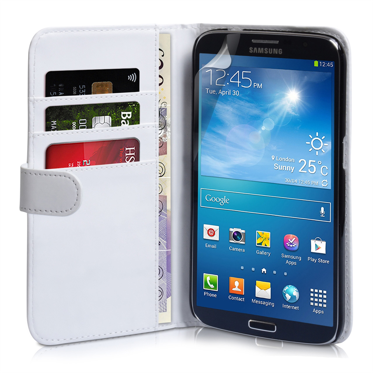 YouSave Samsung Galaxy Mega 6.3 White Leather Effect Wallet Case