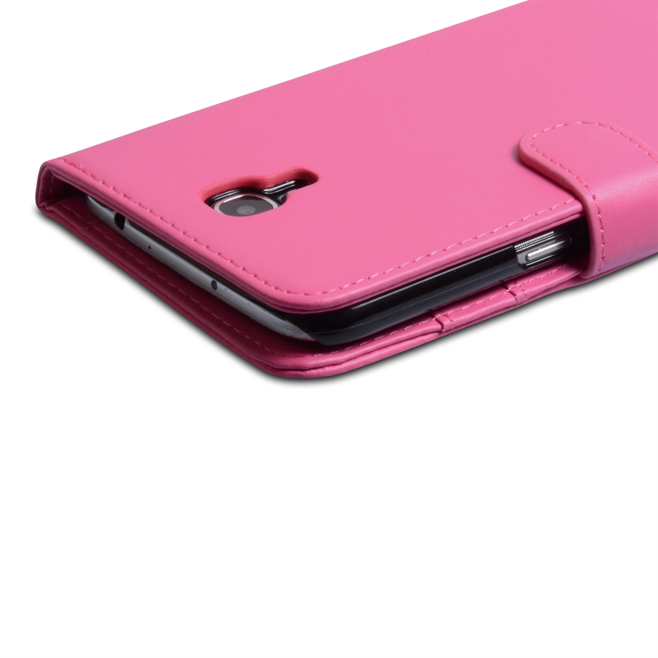 YouSave Samsung Galaxy Mega 6.3 Leather Effect Wallet Case - Hot Pink