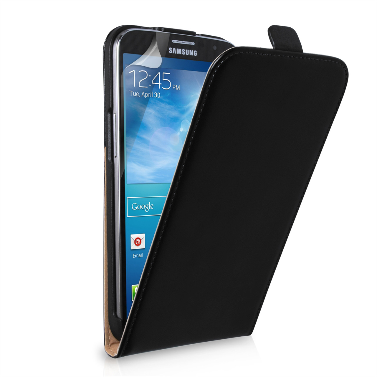 YouSave Samsung Galaxy Mega 6.3 Real Leather Flip Case - Black