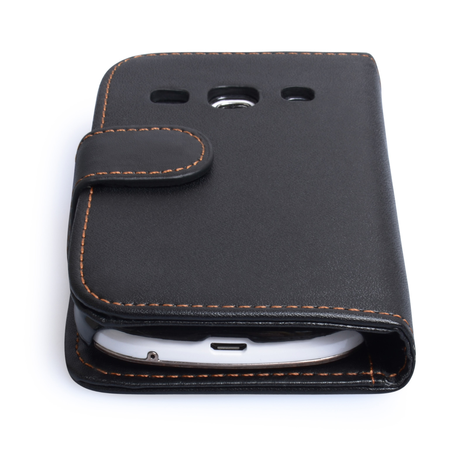 YouSave Samsung Galaxy Fame Leather Effect Wallet Case - Black