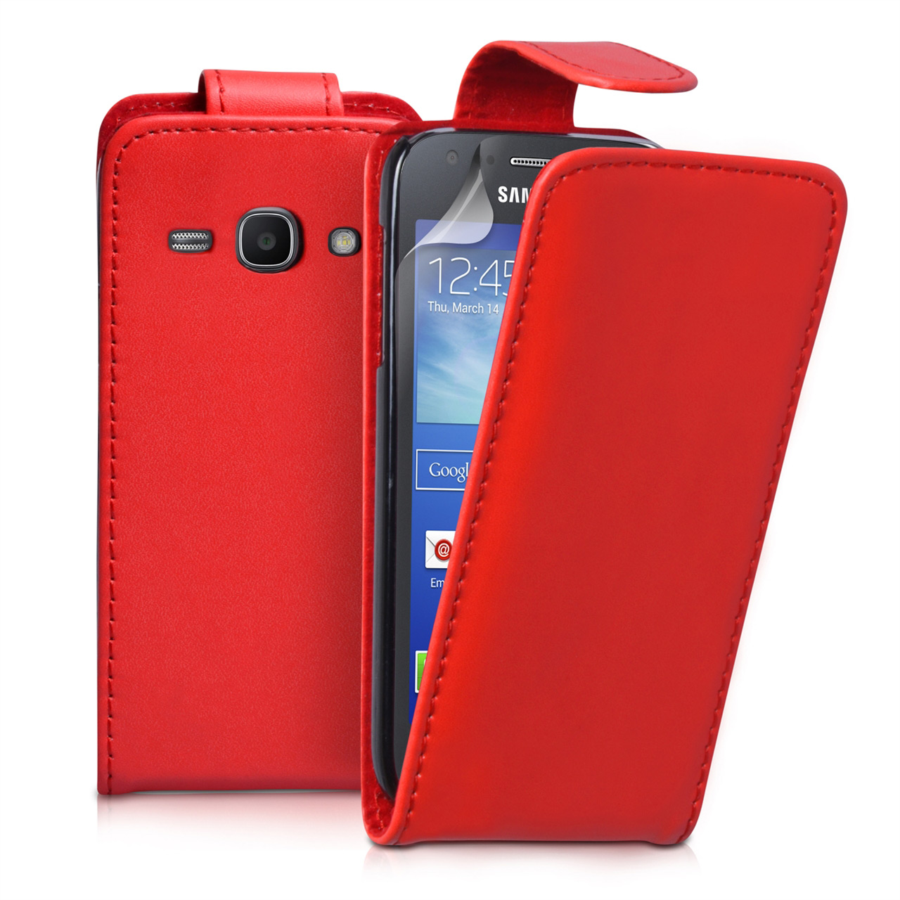 YouSave Samsung Galaxy Ace 3 Leather-Effect Flip Case - Red