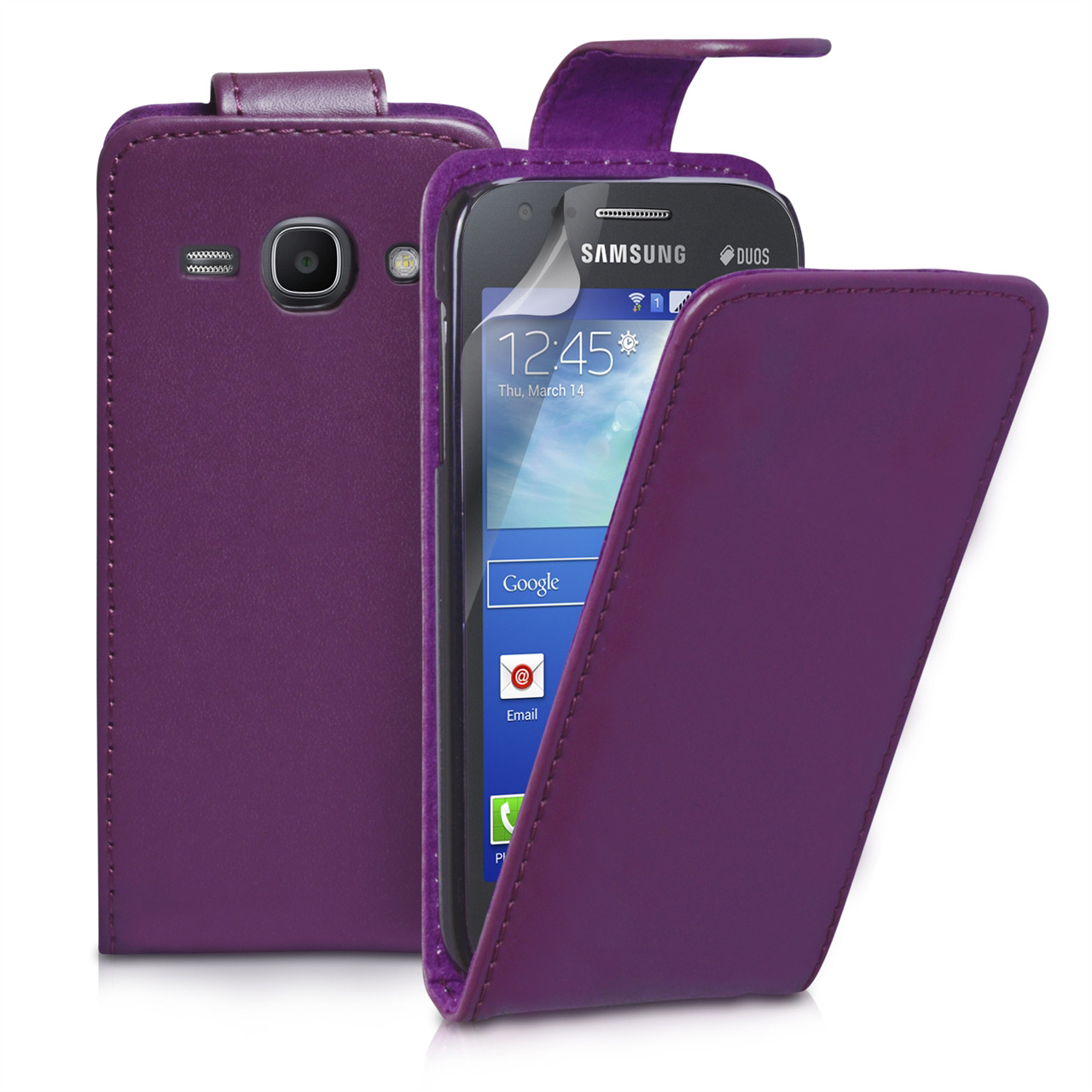 YouSave Samsung Galaxy Ace 3 Leather-Effect Flip Case - Purple