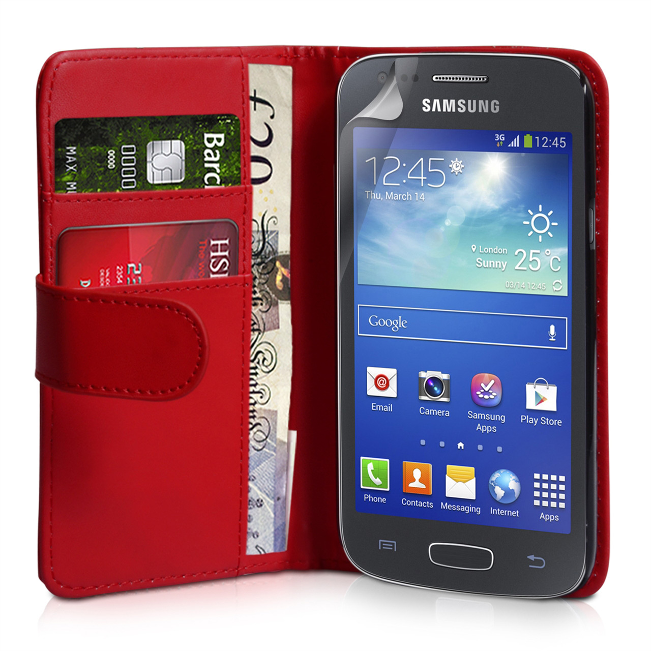 YouSave Samsung Galaxy Ace 3 Leather-Effect Wallet Case - Red