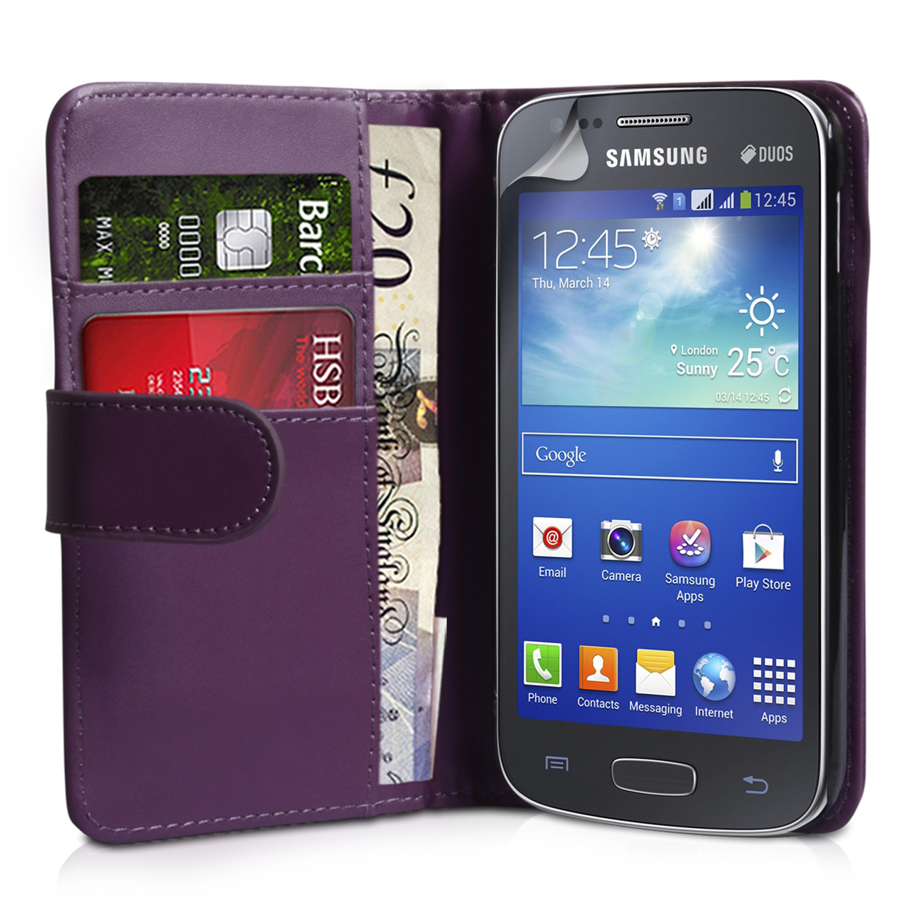 YouSave Samsung Galaxy Ace 3 Leather-Effect Wallet Case - Purple