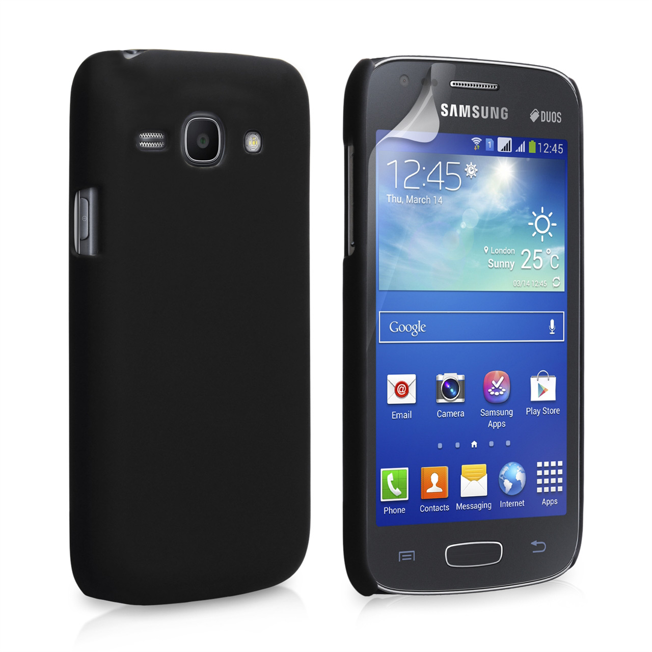 YouSave Accessories Samsung Galaxy Ace 3 Hard Hybrid Case - Black