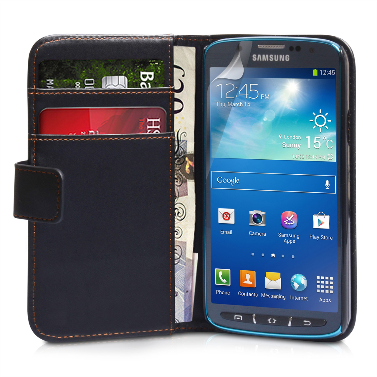 YouSave Samsung Galaxy S4 Active Leather Effect Wallet Case - Black