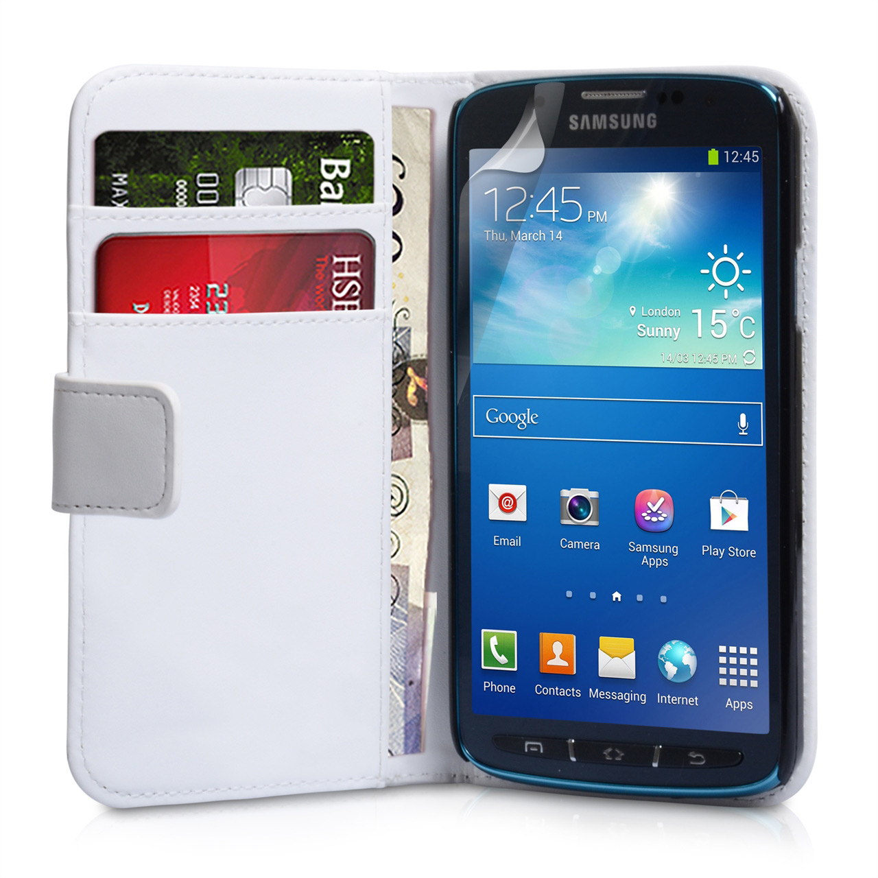 YouSave Samsung Galaxy S4 Active Leather Effect Wallet - White