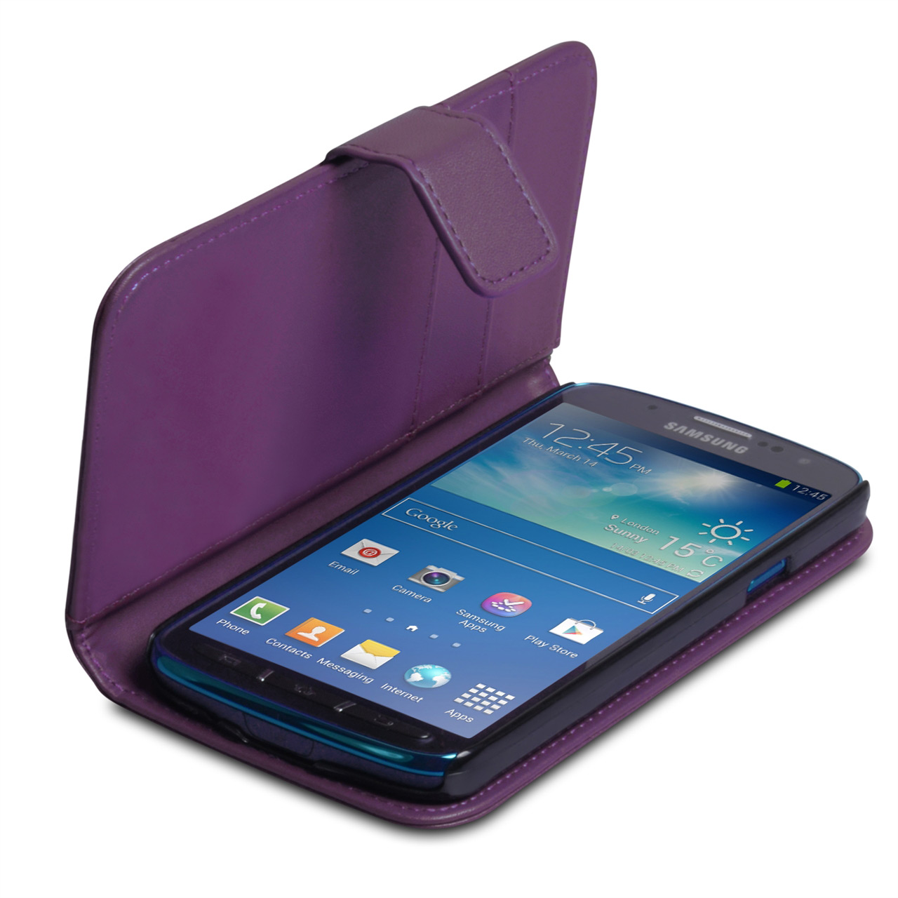 YouSave Samsung Galaxy S4 Active Leather Effect Wallet Case - Purple