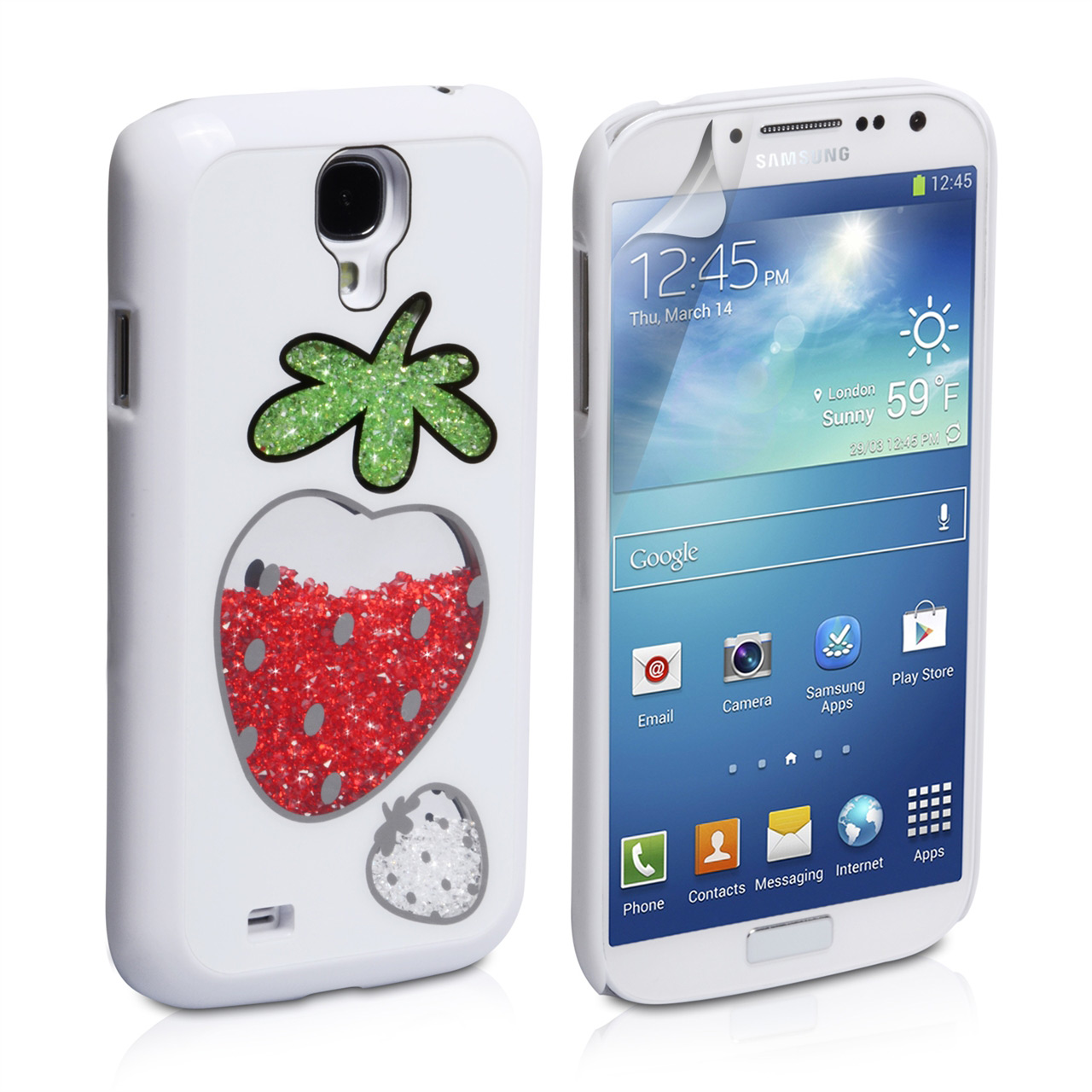 YouSave Accessories Samsung Galaxy S4 Strawberry Bling Case - White