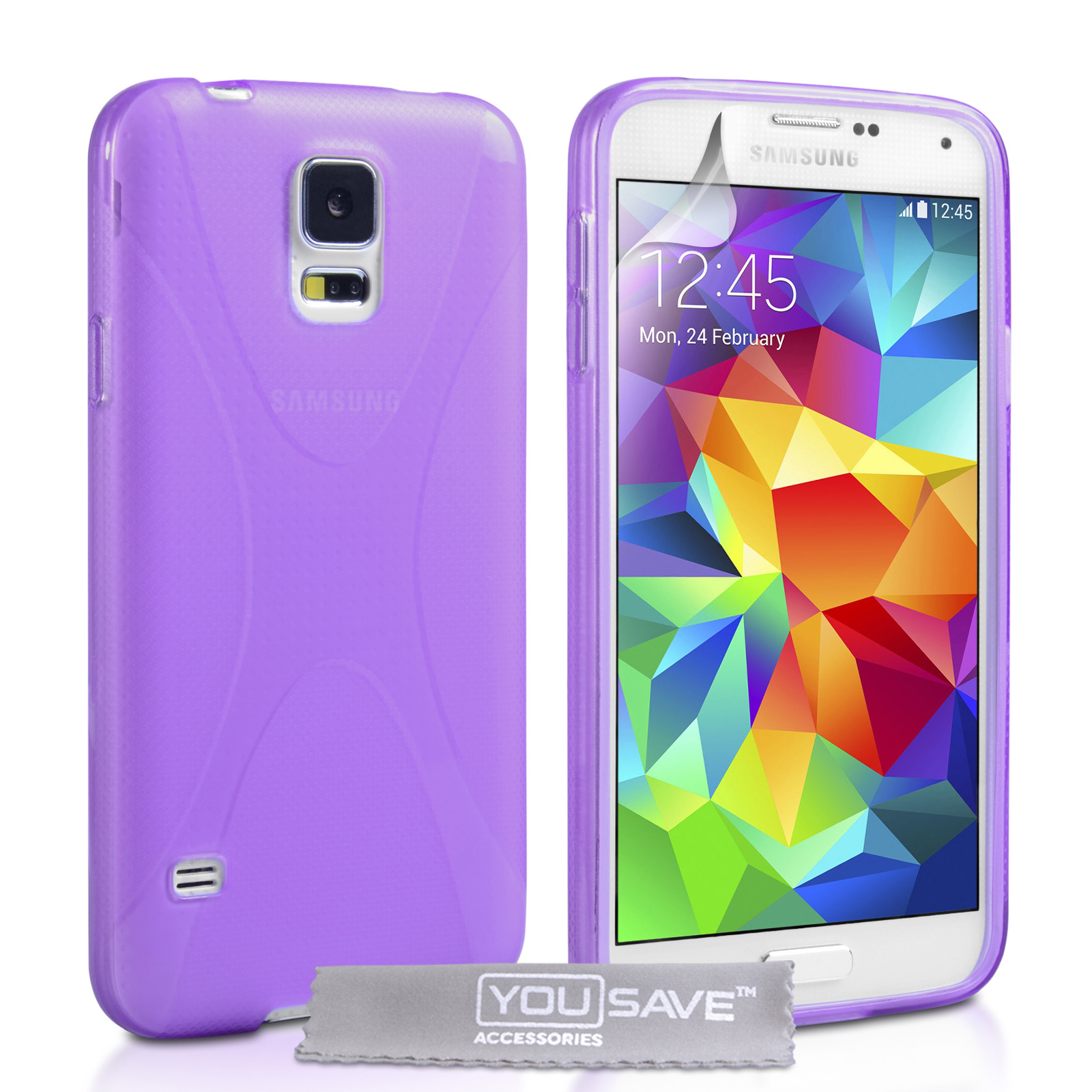 YouSave Samsung Galaxy S5 Silicone Gel X-Line Case - Purple