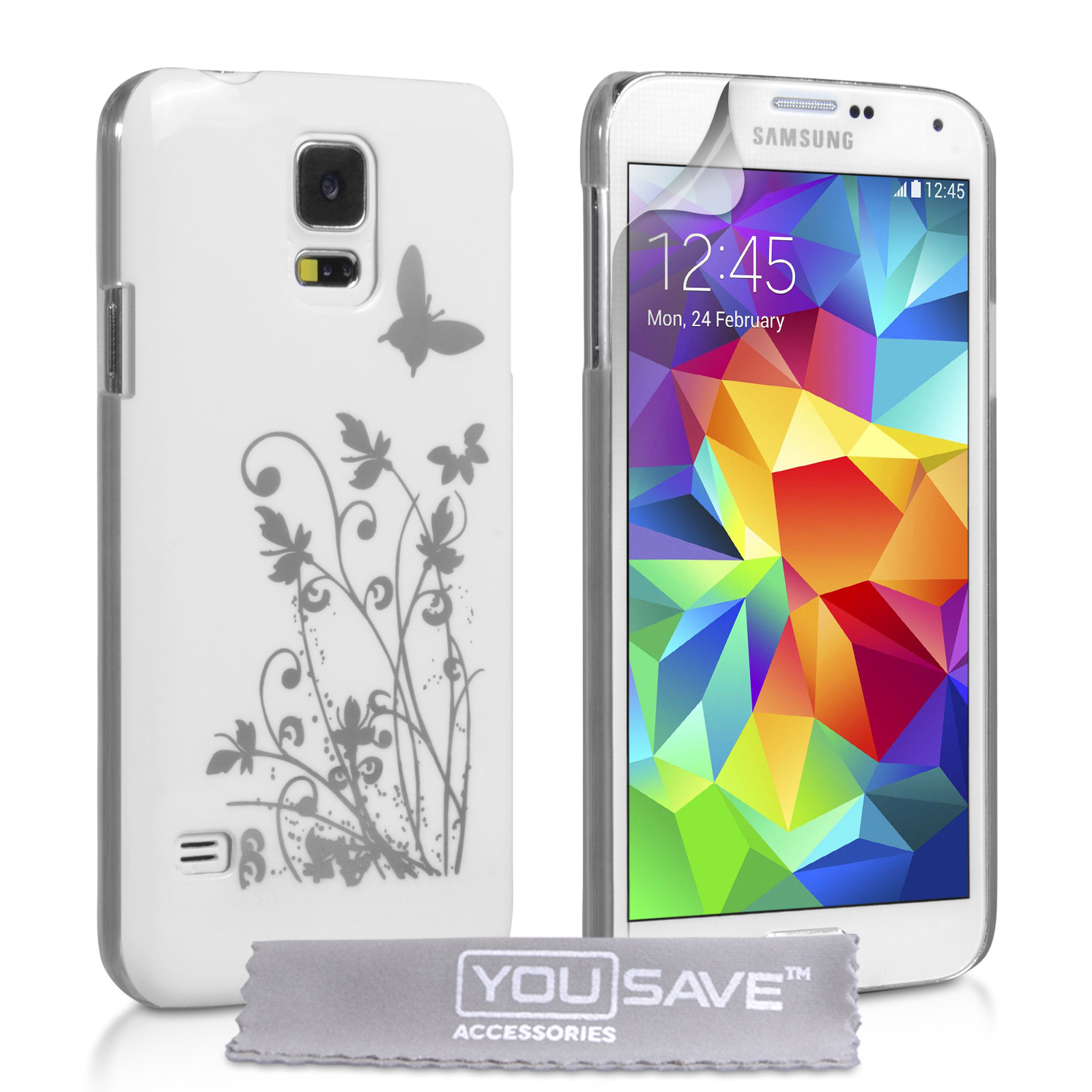 YouSave Samsung Galaxy S5 Floral Butterfly Hard Case - White-Silver