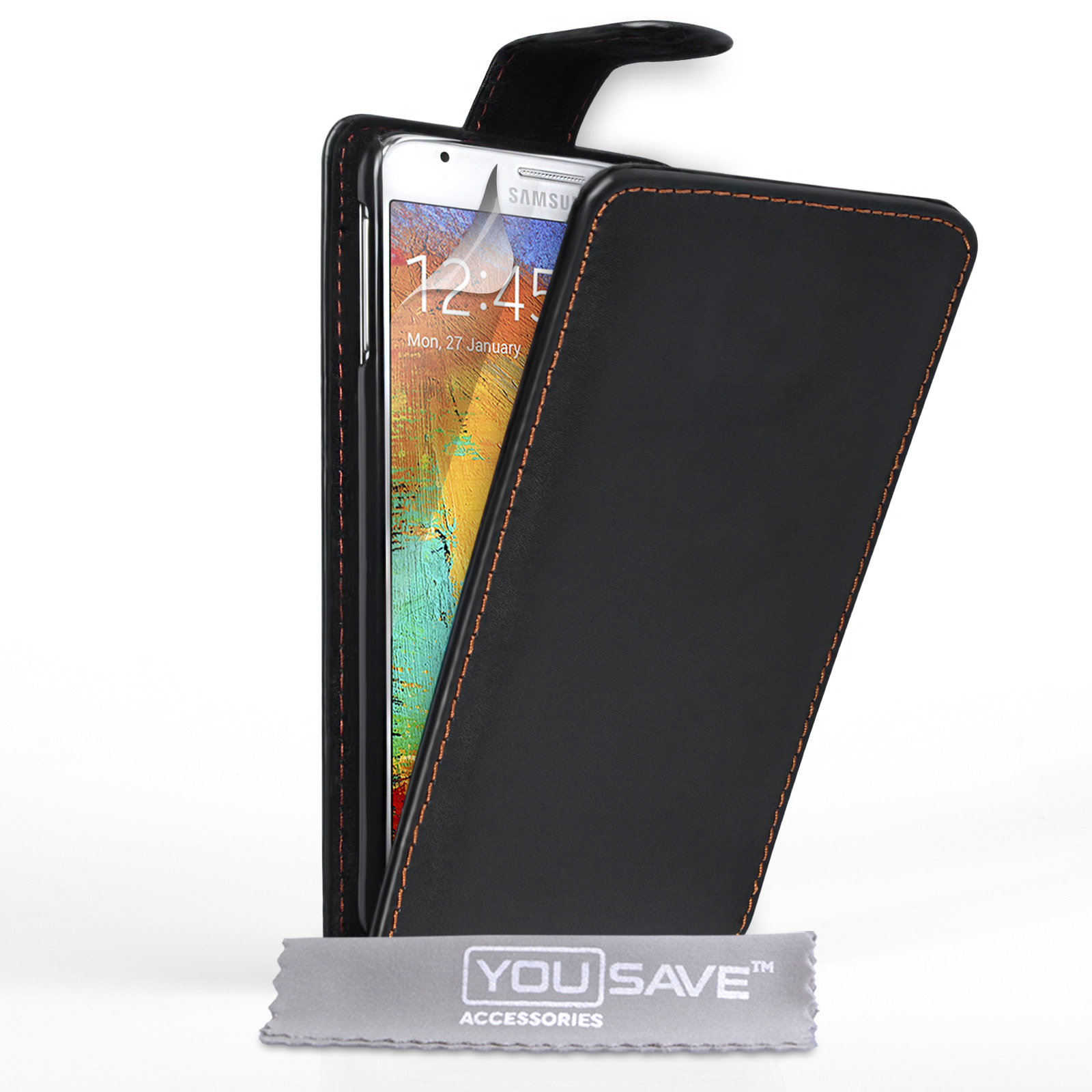 YouSave Samsung Galaxy Note 3 Neo Leather-Effect Flip Case - Black