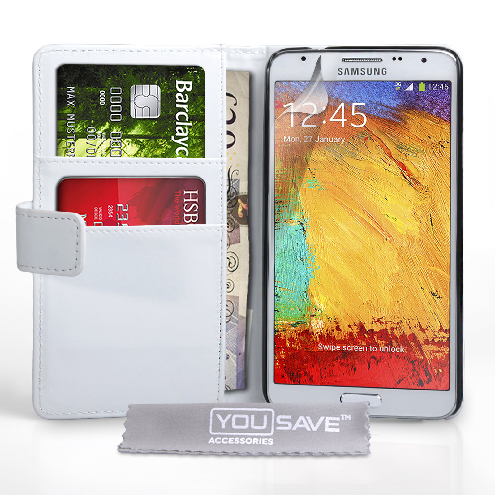 YouSave Samsung Galaxy Note 3 Neo Leather-Effect Wallet Case - White