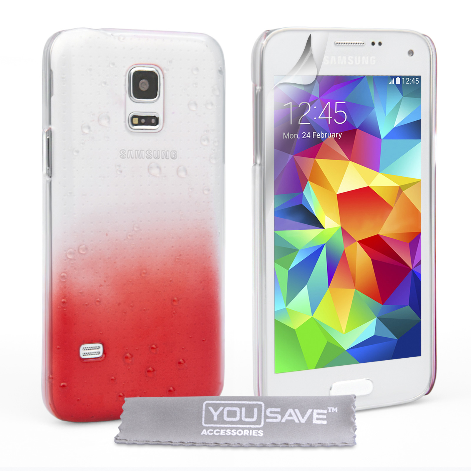 YouSave Samsung Galaxy S5 Mini Raindrop Hard Case - Red-Clear