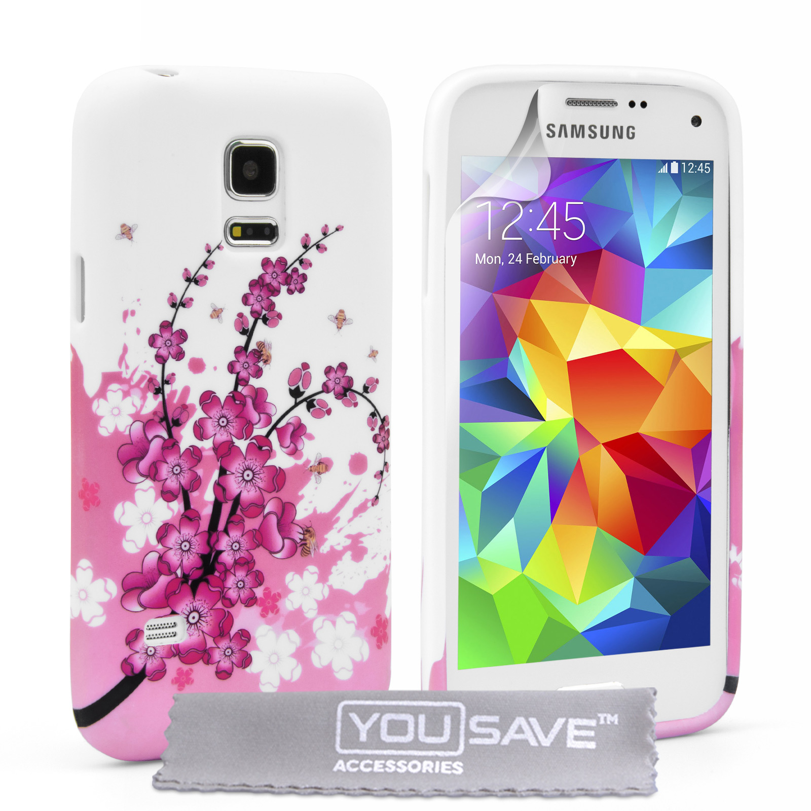 YouSave Samsung Galaxy S5 Mini Floral Bee Silicone Gel Case