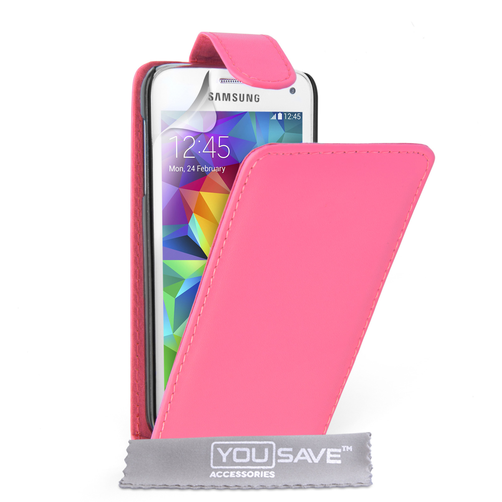 YouSave Samsung Galaxy S5 Mini Leather-Effect Flip Case - Hot Pink
