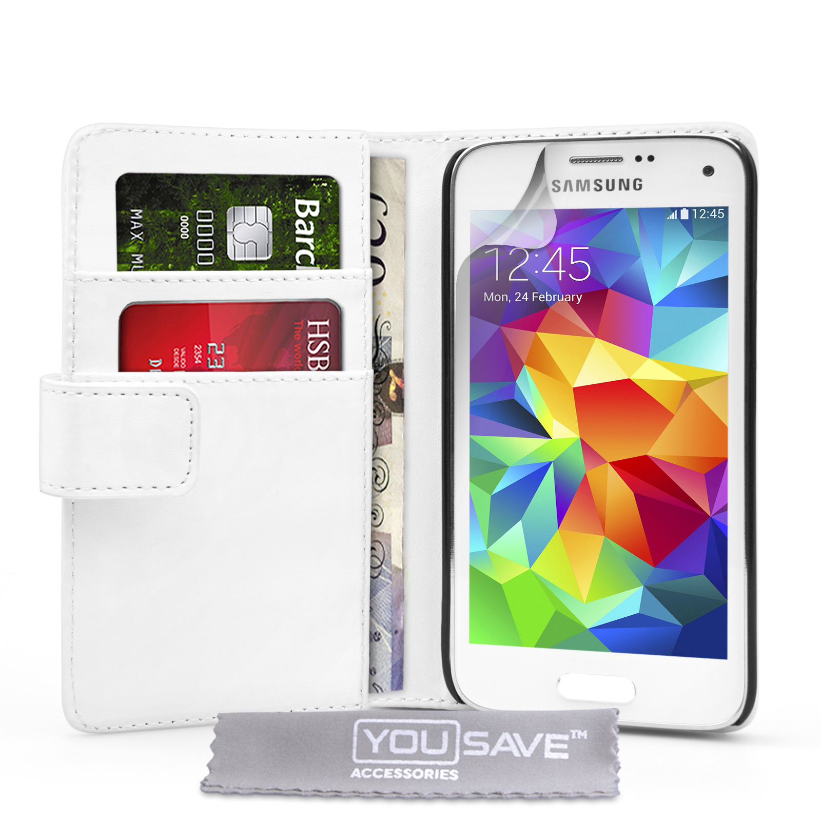 YouSave Samsung Galaxy S5 Mini Leather-Effect Wallet Case - White