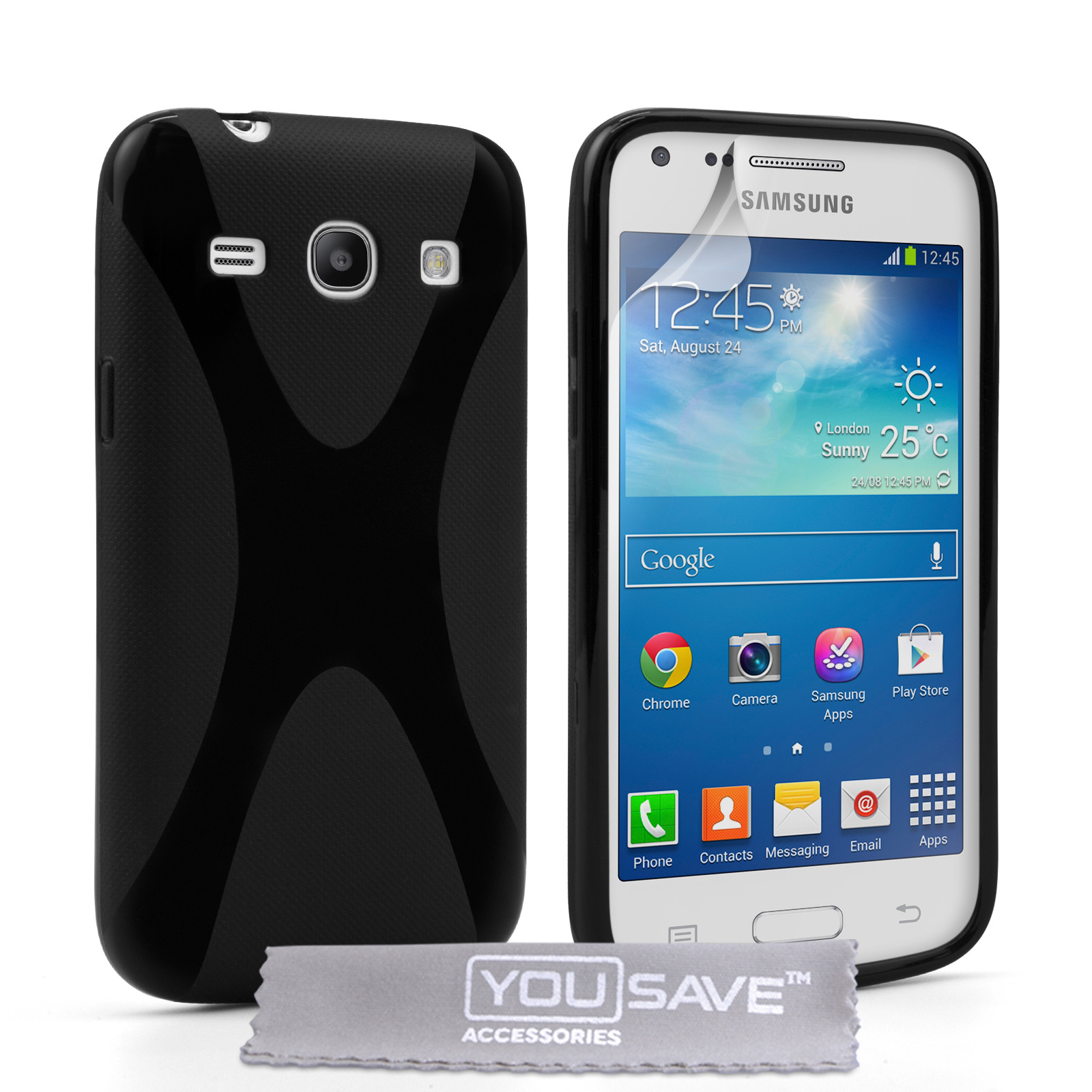 YouSave Samsung Galaxy Core Plus Silicone Gel X-Line Case - Black