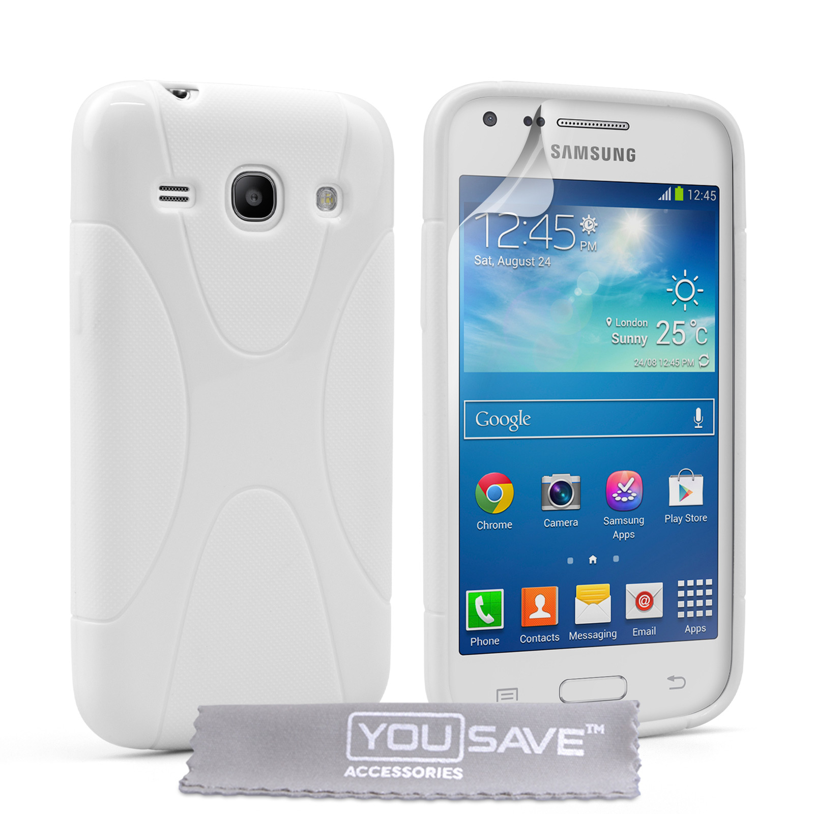 YouSave Samsung Galaxy Core Plus Silicone Gel X-Line Case - White