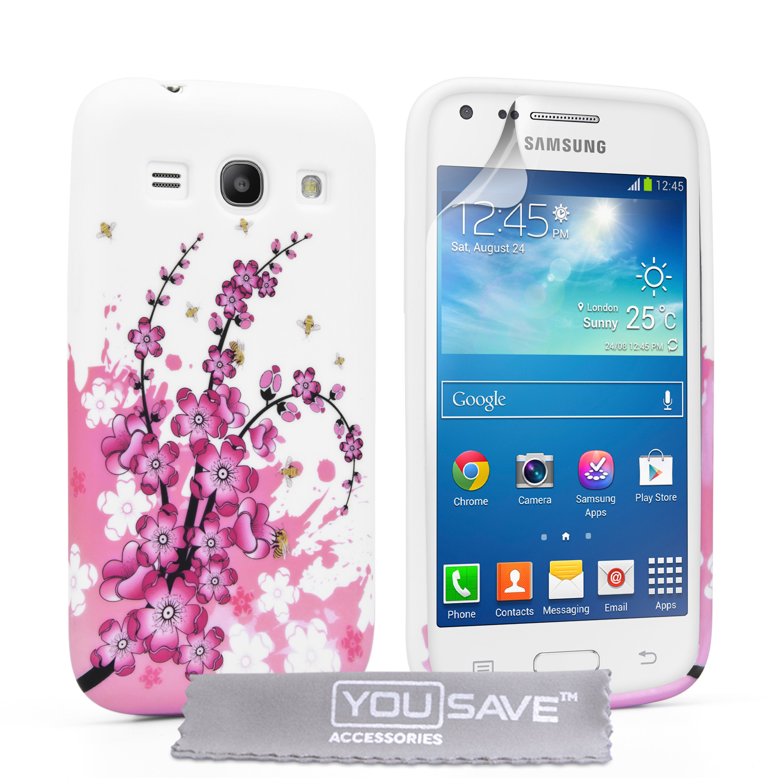 YouSave Samsung Galaxy Core Plus Floral Bee Silicone Gel Case